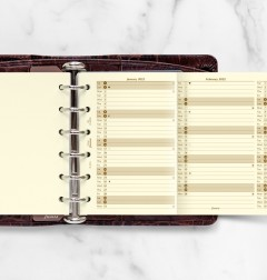 Vertical Year Planner Pocket Cotton Cream