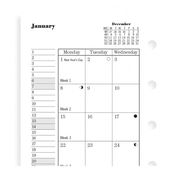 Month On Two Pages Diary Mini 2020