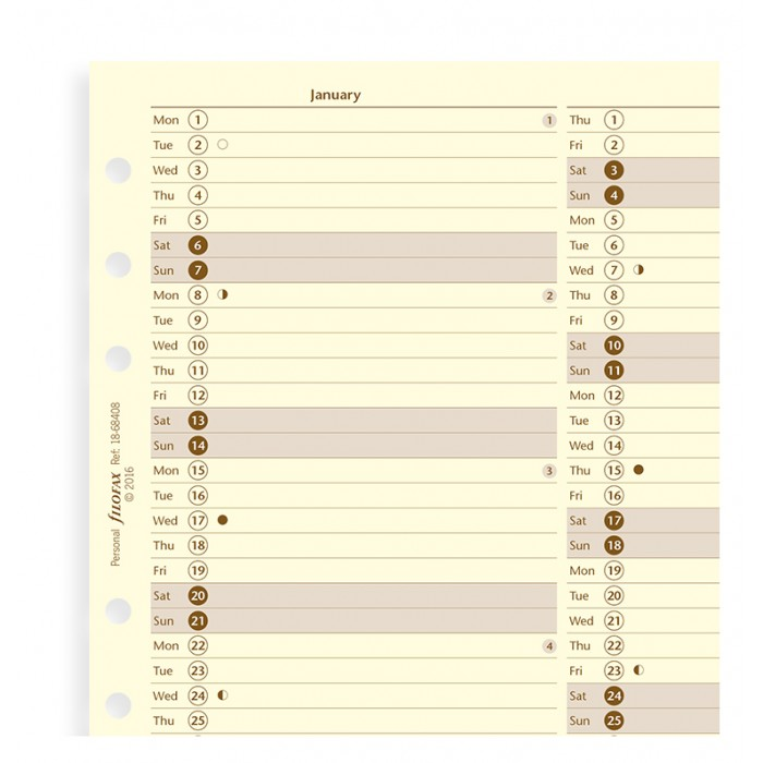 Vertical Year Planner Personal 2020 Cotton Cream