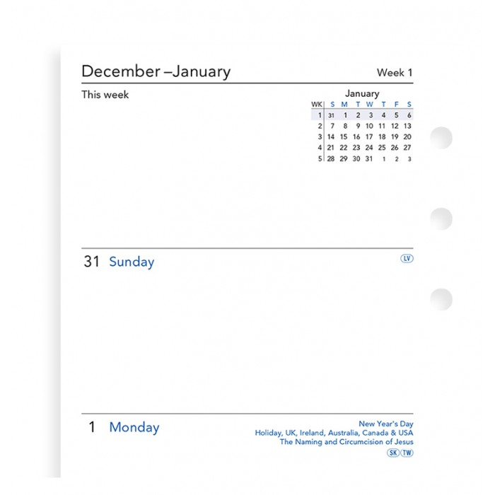 Week On Two Pages Diary Personal Sunday Start 2020