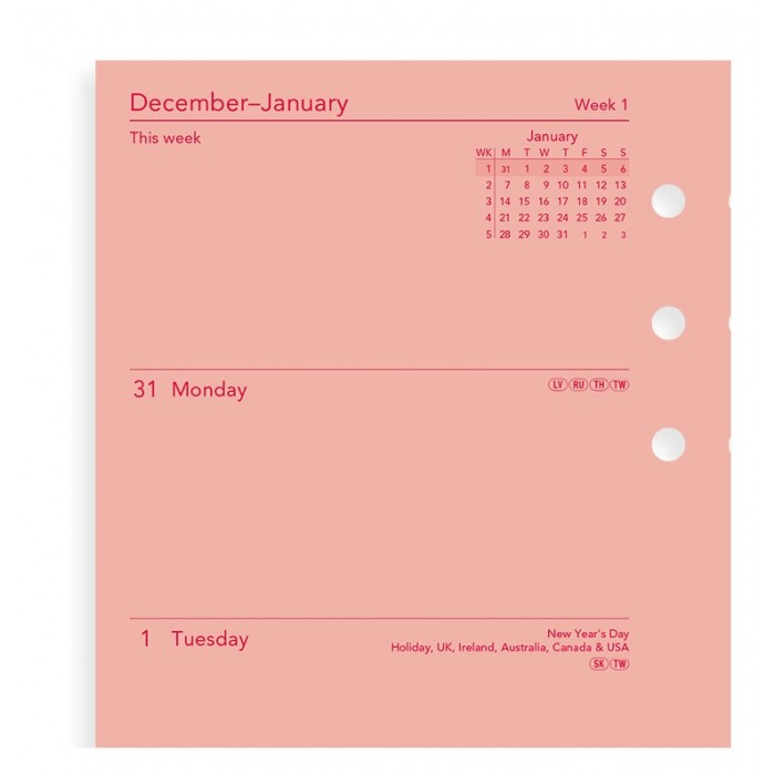 Week On Two Pages Diary Personal Pink 2020