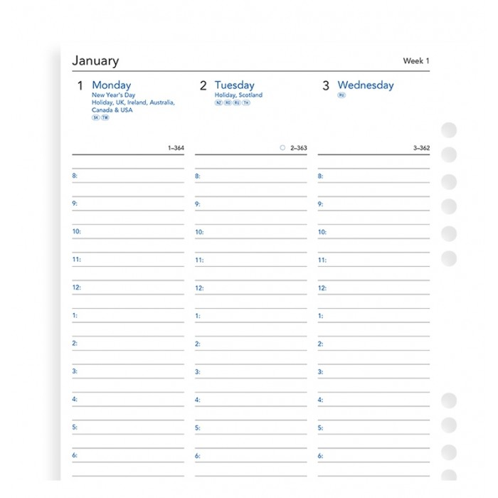 Week On Two Pages Diary With Appointments A5 Multifit 2020