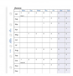 Planning annuel horizontal, anglais - Pocket