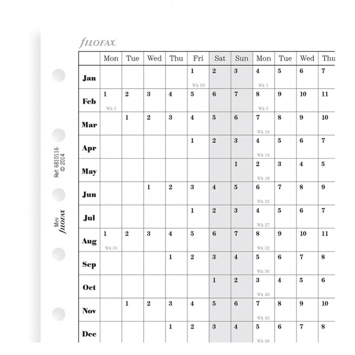 Planning annuel horizontal, anglais - Mini