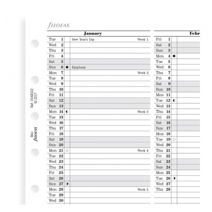 Planning annuel vertical, anglais - Mini