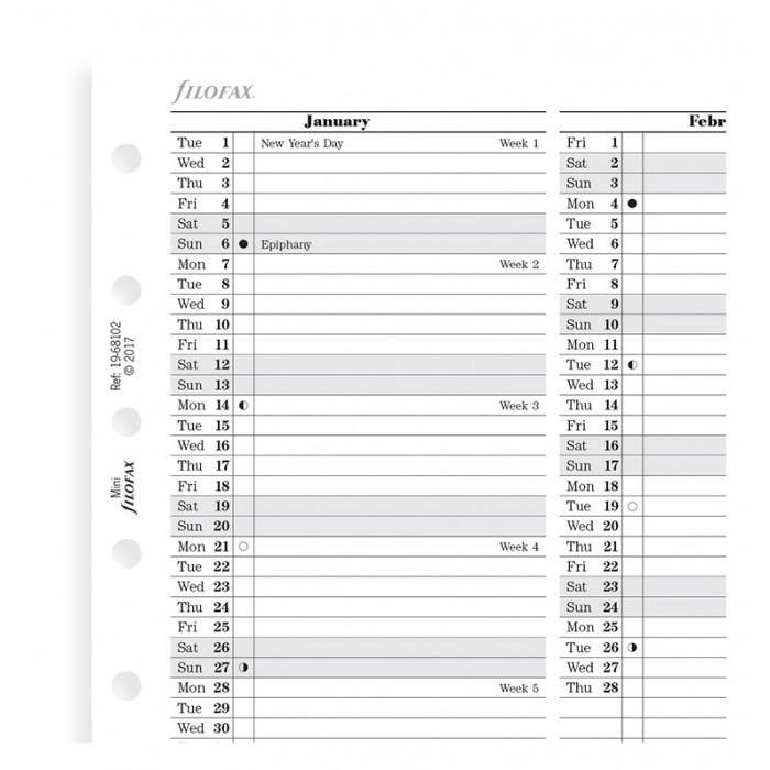 Planning annuel vertical - anglais - Mini 2019