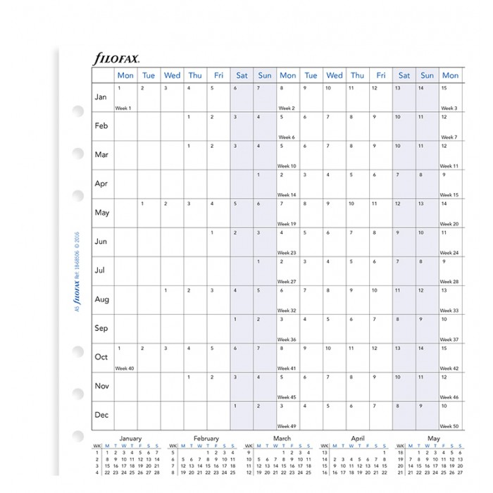Planning annuel horizontal - anglais - A5 2020