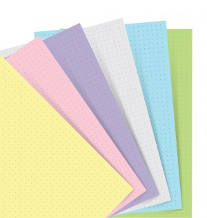 Feuilles de notes pointillées pour cahiers de notes FIlofax - Assortiment Pastel - Pocket