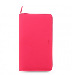 Organiseur Saffiano Rose Fluo Personnel Compact Zip
